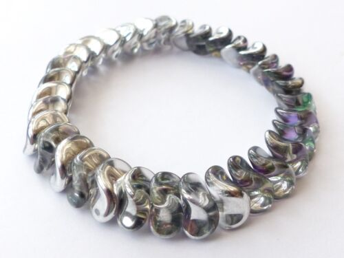 20PCS MM TWISTED DIAMOND BICONE INTERLOCKING CZECH GLASS PRESSED BEADS - 13