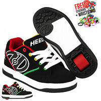 Heelys Propel 2.0, Black/Reggae Boys and Girls Wheeled Lace Up Roller Shoe Boots
