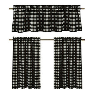 Black White Gingham Checkered Plaid Kitchen Tier Curtain Valance Set Duck River Ebay
