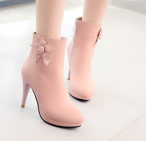 Womens Sweet Flower Decor High Slim Heels Ankle Riding Boots Princess shoes F615
