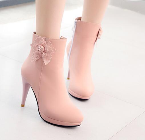 Zapatos Zapatos Zapatos de tacón alto Mujer delgado dulce con Flor de Decoración Tobillo botas De Montar Zapatos De Princesas F615  comprar ahora