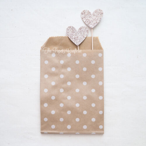 25 x SMALL KRAFT PAPER BAGS Flat Polka Dot Lolly Favour Wedding Rustic Packaging