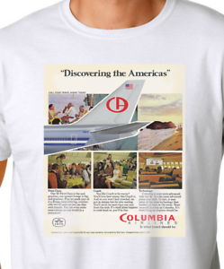 Columbia Airlines Fictional Ad Airport /'75 White T-Shirt
