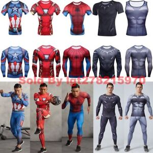 Image is loading Compression-Marvel-Superhero-Running-Cycling -Leggings-Dead-Pool- 2113b6543
