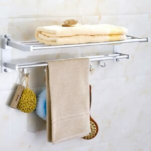 Modern Double Wall Mounted Bathroom Bath Towel Rails Holder Rack Shelf 5 Hooks Ebay