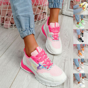 WOMENS LADIES LACE UP CHUNKY SOLE