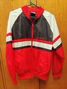 ADIDAS-BLACK-RED-SILVER-SIZE-LARGE-ZIP-UP-WINDBREAKER-JACKET-80s-MINT