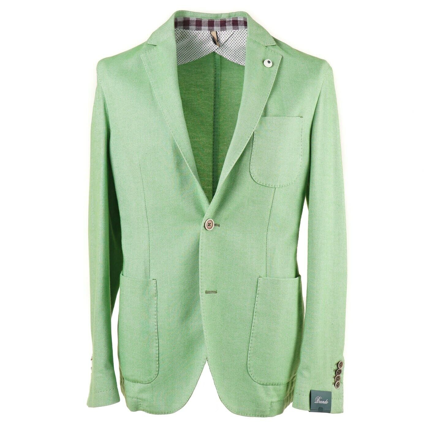 NWT  L.B.M. 1911 Melon Green Herringbone Extra-Soft Cotton Sport Coat 40 R