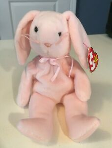 """Vintage Ty Beanie Baby 1996, """"Hoppity"""" the Pink Rabbit, Style 4117-FREE SHIPPING"""
