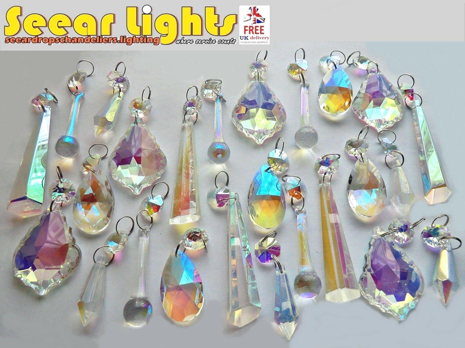 25 cristalli di vetro luce gocce gocce gocce Retrò AB Lampadario Perle Albero di Natale Decorazioni 34e1c4