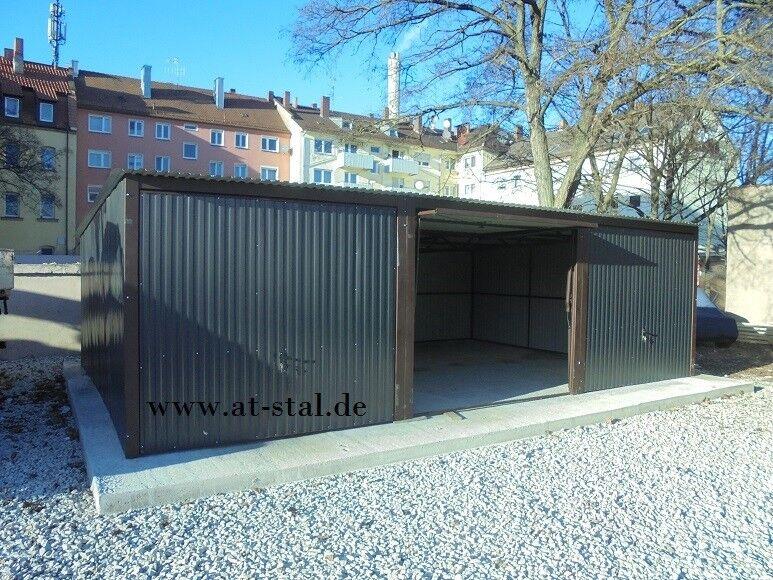 Blechgarage 6x5x2,14 Garage KFZ Lager Garagen Fertiggarage mit Aufbau NEU