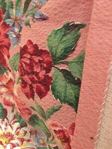 VTG BARKCLOTH DRAPE Panel Cottage Shabby Pink ROSE Floral fabric chic 90 X 32