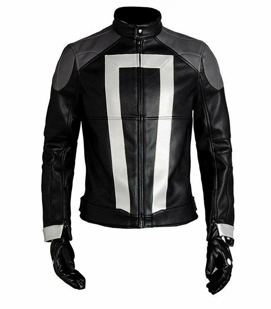 GHOST RIDER MENS LEATHER BLACK JACKET AGENTS OF SHIELD SEASON 4 ROBBIE REYES