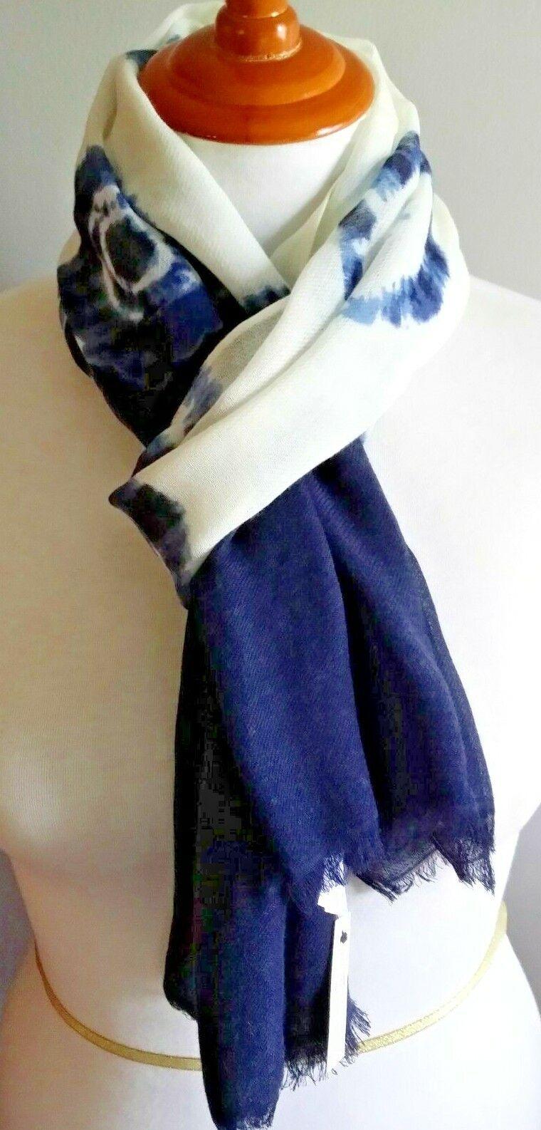 ! nuevo con etiquetas! Talbots Lana Challis Rectángulo Bufanda-Azul Shibori Tie-Dye