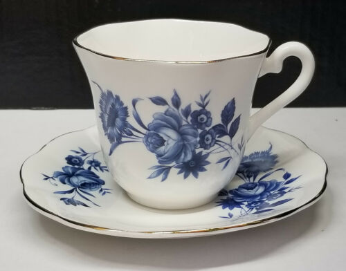Fine Bone China by Elizabethan Taylor and Kent Blue Roses on White Gold Trim