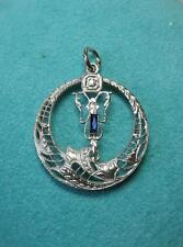 Diamond Sapphire Pendant Necklace Edwardian Belle Epoque Wedding Victorian Gold