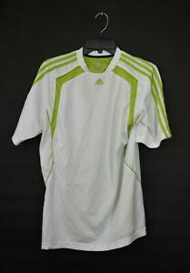 Adidas-Mens-White-Climacool-Athletic-Shirt-Short-Sleeves-Mesh-Stand-Collar-M