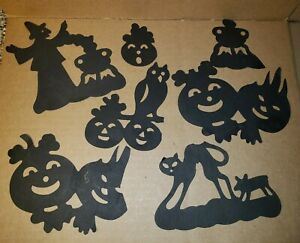 Vintage-Halloween-Black-Cardboard-Wall-Table-Deco-Witch-Cats-Pumpkins-50s-60s