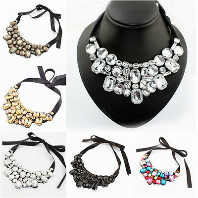 Fashion Women Charm Necklace Pendant Bib Chain Crystal Choker Statement Jewelry