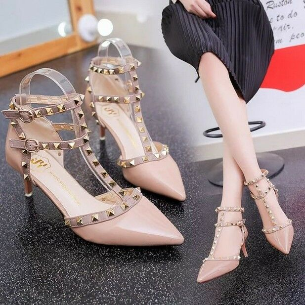 Womens Roman Rivet Studded T-Bars Pointed Toe High Shoes Heel Pumps Court Party Shoes High 403f71