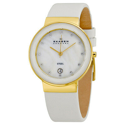 Skagen Mother of Pearl Dial White Leather Ladies Watch SKW2033