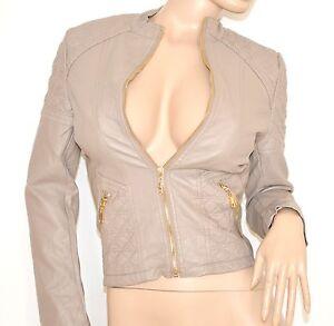 GIUBBINO-BEIGE-FANGO-giacca-donna-eco-pelle-giacchino-zip-oro-black-jacket-N20
