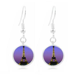 Tour Eiffel de nuit photo Art Glass Cabochon 16 mm Charme Boucle d/'oreille Boucle d/'oreille crochets
