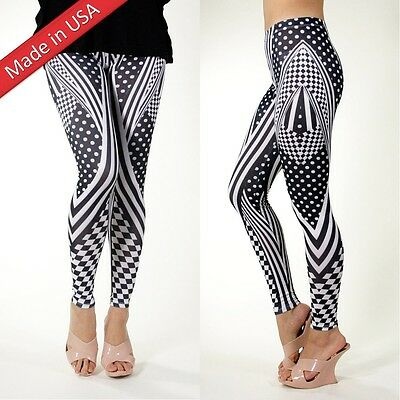 New Polka Dots Stripe Mixed Pattern Leggings Tight Pants Made in USA