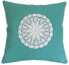 "Aqua Doily Decorative Throw Pillow Cover/Cushion Cover / Cotton 20x20"""