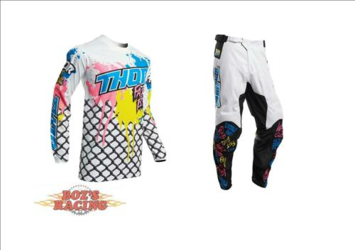2020 THOR RACING PULSE FAST BOYZ WHITE PINK YELLOW JERSEY AND PANT GEAR COMBO
