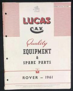 ROVER 80 100 3 LITRE LANDROVER 1961 LUCAS EQUIPMENT SERVICE PARTS LIST CATALOGUE