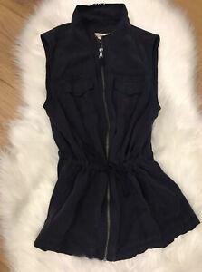 Merona-Women-039-s-Utility-Vest-Jacket-Size-Small-Blue-Zip-Up-Sleeveless-Zip-Pockets