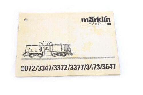 3347 3473 3377 3372 Betriebsanleitung Märklin 3072 3647 Spur H0