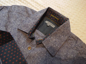 Ted-Baker-Camisa-Para-Hombres-Talla-4-42-034-pecho-RRP-110-Jacquard-Floral