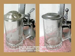 OLD SPICE ETCHED GLASS STEINS Salem * Ship Grand Turk * 1786 VTG LOT OF 2 PEWTER