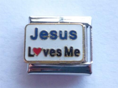 SILVER ITALIAN JESUS LOVES ME CHARM fits all classic design 9mm bracelet Z1