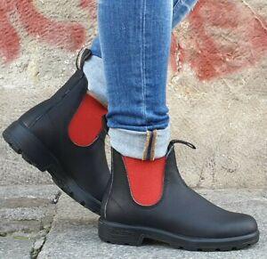 BLUNDSTONE-Schuh-508-Echtleder-Schwarz-Rot-Damen-Chelsea-Boots-Wechselfussbett