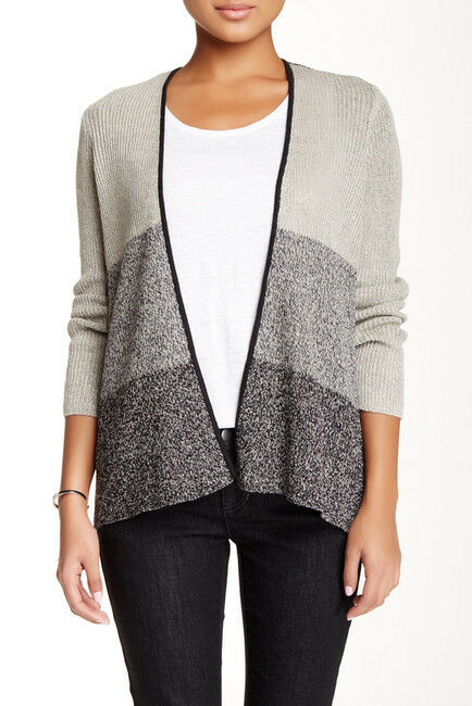 NEW Eileen Fisher Striped Wool and Linen Blend Cardigan, Size S