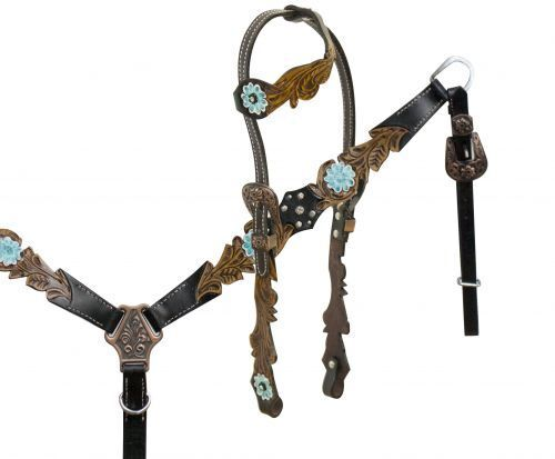 Leather One Ear Bridle & Breastcollar w  Cut Out Filigree & TEAL Painted Flowers