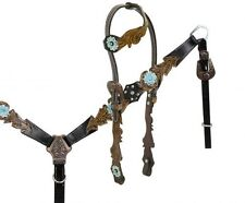 Leather One Ear Bridle & Breastcollar w/ Cut Out Filigree & TEAL Painted Flowers