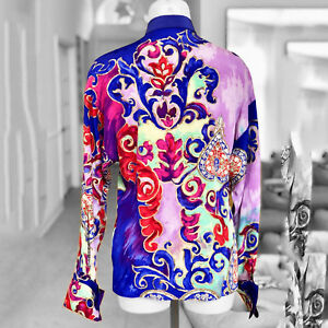 fa79aec5b4 Details about GIANNI VERSACE women's silk shirt w/ French cuffs & gold  accents size Italian 42