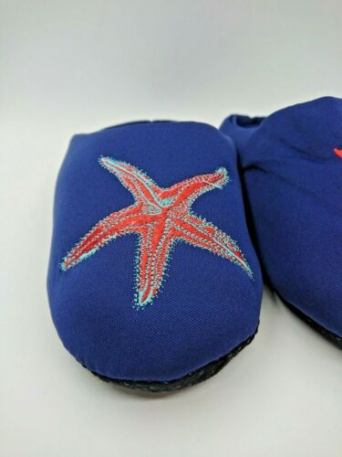 Jeffrey Banks Home Women/'s Blue Seahorse Jersey Slippers with Applique