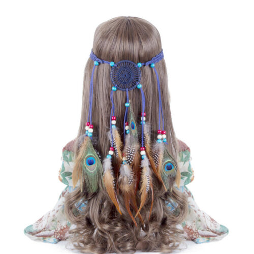 Boho Indian Feather Headband Dream catcher cheveux Bande Perles Carnaval Hippie Party