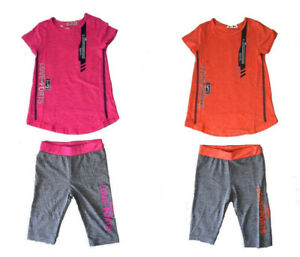 Kinder-Sommer-2-Teiler-Neu-Maedchen-Caprihose-TShirt-Kinder-Bermuda-2-Tlg-SUSS