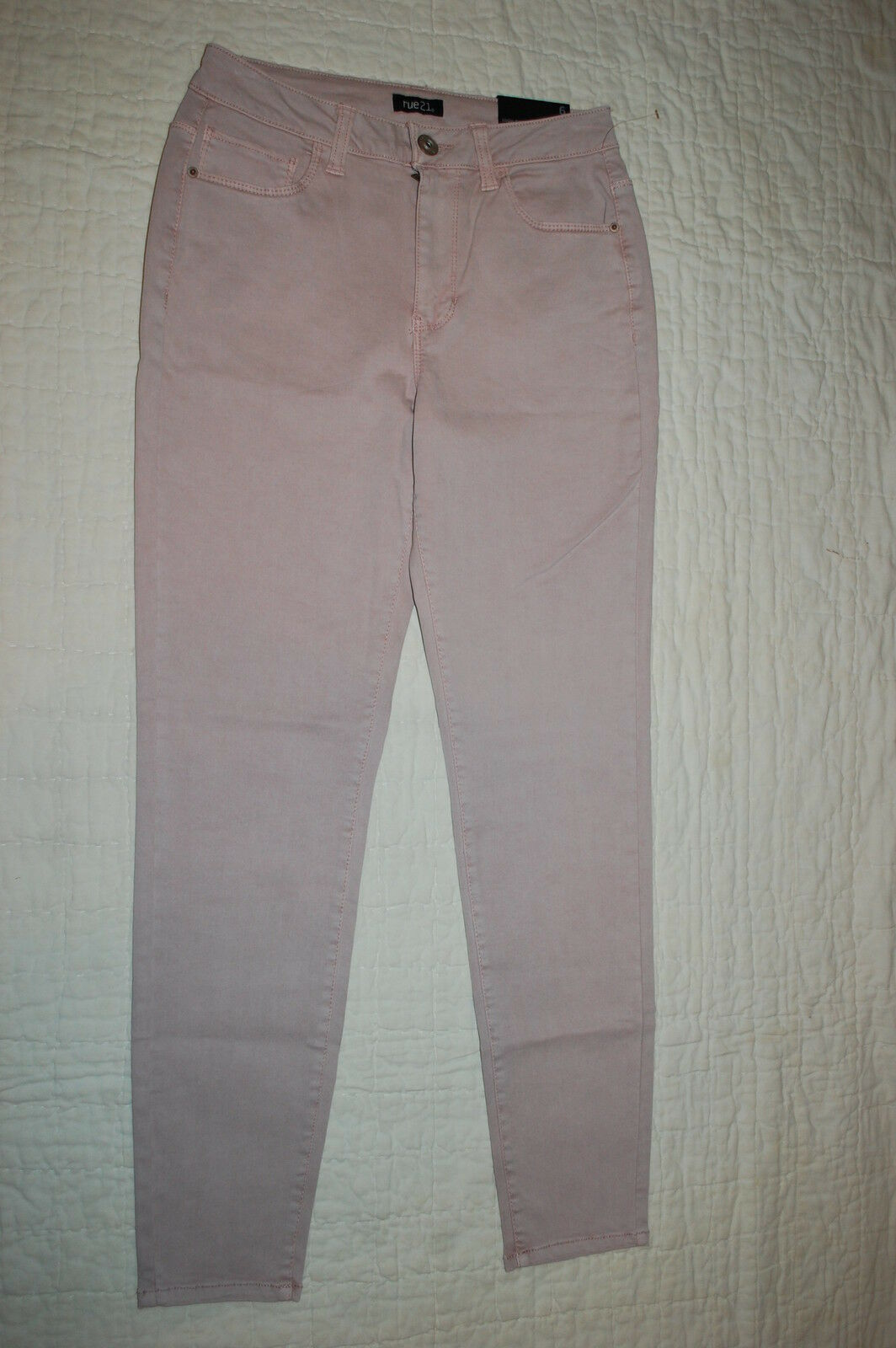 Womens Jeans LIGHT PINK ANKLE JEGGINGS High Waisted COTTON TWILL STRETCH Sz 10