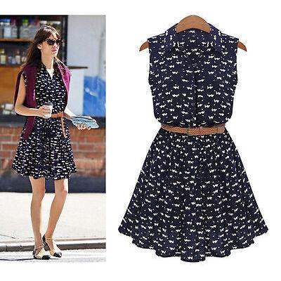 New Fashion Women Summer Boho Sleeveless Vest Cat Footprints Party Mini Dress