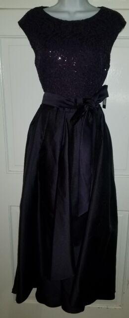 808b1183a55de Ignite Evenings navy blue sequined taffeta full skirt formal ball gown dress.  10