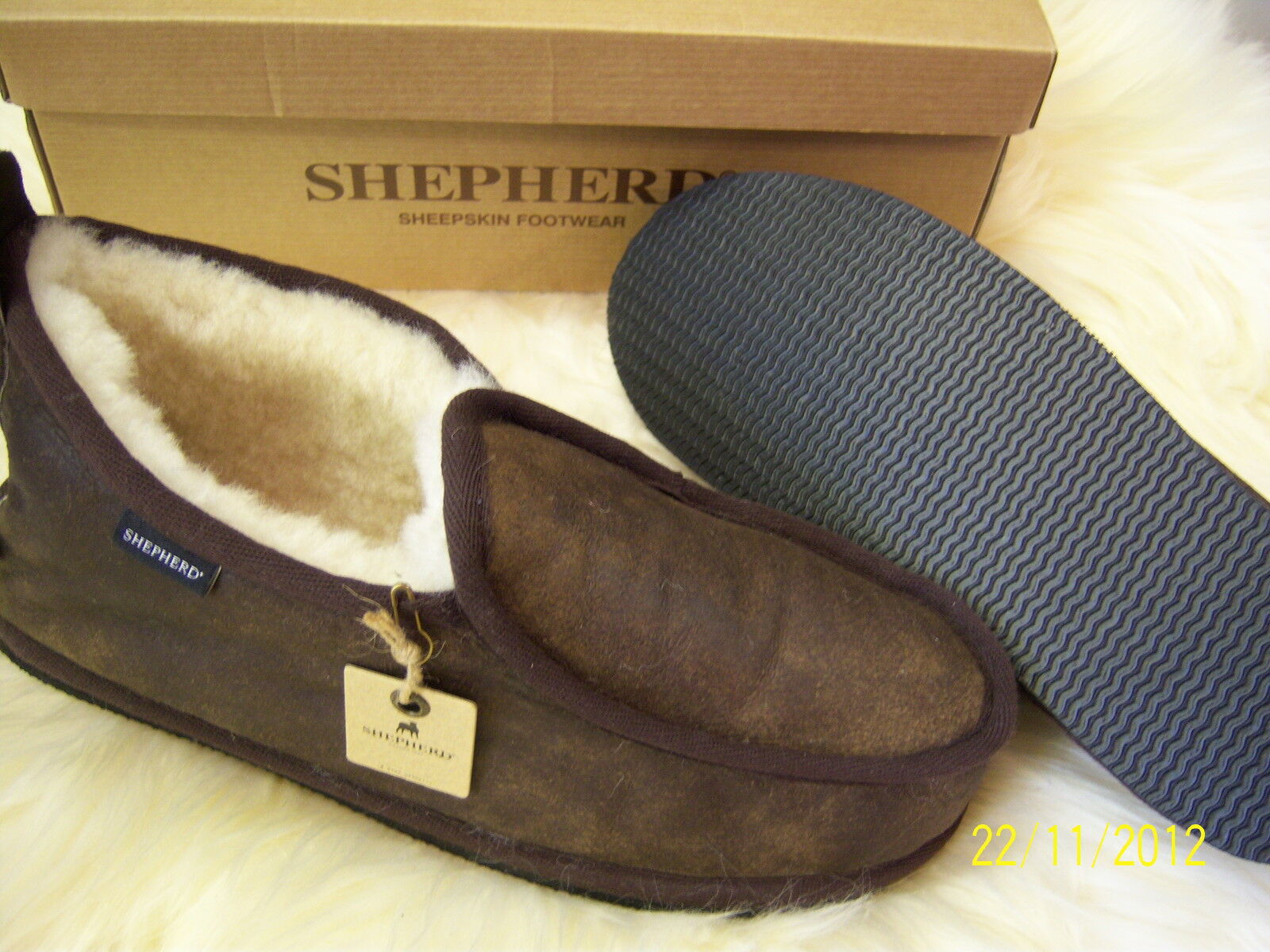 Mens Gunuine Warm Sheepskin Slippers By Shepherd Sweden Hard Sole  7 8 9 10 11