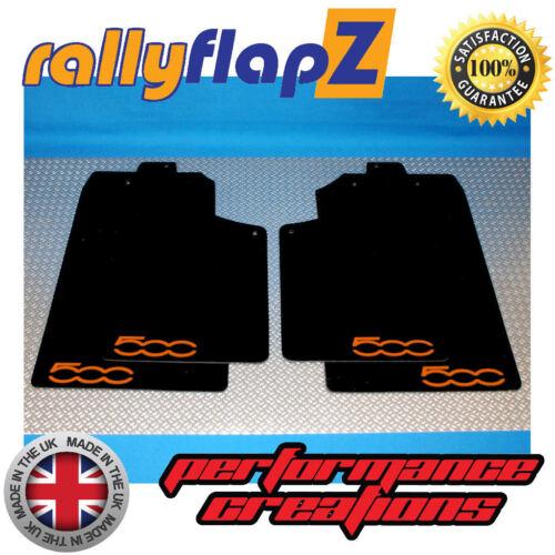 Mud Flaps Kit /& Fixings rallyflapZ FIAT 500 Black 4mm PVC Logo Orange 2007 on