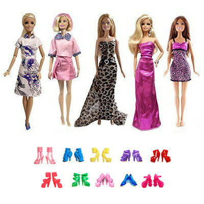 15 Doll Items 5 Fashion Handmade Dresses Gown /& 10 Shoes for 11.5 inches Dolls
